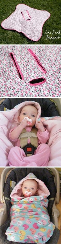Baby Car Seat Blanket #diy Perfect for our cold weather!  A few measurements and this could be done with fleece with no sewing.