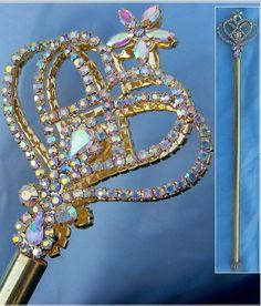 Enchanted Rainbow Princess Scepter, Gold Edition One of our most popular scepters, now available in gold look metal setting. Alluring, elegant scepter, made with brilliant Aurora Borealis stones, will