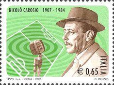 2007 - Centenario della nascita di Nicolò Carosio - Ritratto del radiocronista Nicolò Carosio con un microfono dell'epoca
