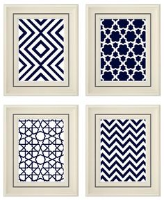 Navy Blue Wall Art navy blue art blue white wall art home decor setinkandnectar