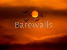 """Full moon and bat halloween background"" - Halloween art prints available at Barewalls.com"