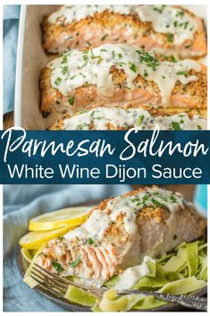 PARMESAN CRUSTED SALMON is our very favorite way to enjoy seafood! I love making salmon because it's delicious AND good for you. This White Wine Dijon Salmon is coated with a crispy garlic Parmesan crust and drenched in an amazing white wine sauce. Baked Salmon Recipes, Fish Recipes, Seafood Recipes, Cooking Recipes, Healthy Recipes, Salmon Recepies, Seafood Meals, Side Dishes For Salmon, Fish Dishes