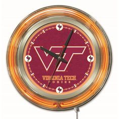 Virginia Tech University 15-Inch Neon Logo Clock