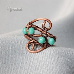 Wire wrapped copper ring adjustable statement boho ring with faceted glass turquoise beads wire wrapped jewelry girlfriend gift for women