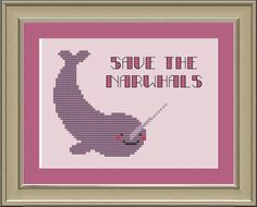 Save the narwhals: funny cross-stitch pattern. $3.00, via Etsy.