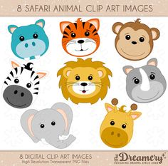 8 Safari Animals Clip Art Images - INSTANT DOWNLOAD - PNG - Invitations, Party, Baby Shower, Birthday