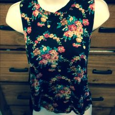 Blouse Pretty flowers and black lace in the back. Got this from another posher a little sm for me Tops Blouses