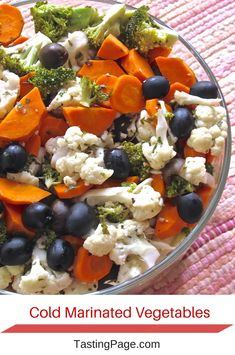 Cold Marinated Vegetables. I love making a big batch of these and snacking on them during the day when I have a food craving. Crunch, crisp with a little sweetness.