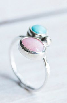 Pink Opal and Aqua Blue Aventurine Ring