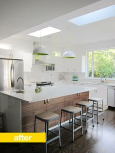 Lovely kitchen remodel. Inexpensive ikea light fixtures painted on the inside with a lovely green color. Adds a Pop of color-and doesn't break the bank. From Apartment Therapy.
