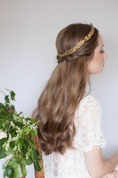 Edwardian mini gold leaf circlet vintage crown by AnnaMarguerite