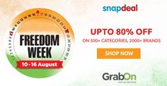 #SayThanks to Snapdeal for these amazing offers! #SnapdealFreedomWeek is here! Grab it NOW: http://www.grabon.in/snapdeal-coupons/