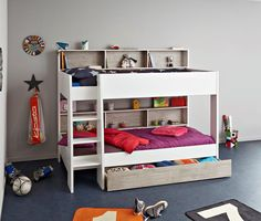 Parisot Tam Tam 3 Bunk Beds from Rainbow Wood South. The New PArisot Tam Tam 3 Bunks - White bunks with integral shelving and Cappuccino Backing Boards Bed With Underbed, Bunk Beds With Drawers, Bunk Beds With Storage, Bunk Beds With Stairs, Under Bed Storage, Wooden Bunk Beds, Cool Bunk Beds, Kids Bunk Beds, Home Furniture