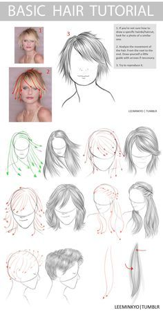 1_ si no estás seguro de cómo dibujar un peinado / corte de cabello específico, busque una foto de una similar. 2_ analizar el movimiento del cabello. desde la raíz hasta el final. dibujarse una pequeña guía con las flechas si es NECESARIO. 3_ intentar reproducirlo.