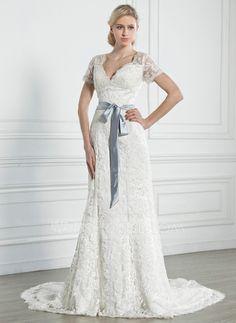 Wedding Dresses - $226.99 - A-Line/Princess V-neck Chapel Train Satin Lace Wedding Dress With Sash Bow(s) (002005247) http://jjshouse.com/A-Line-Princess-V-Neck-Chapel-Train-Satin-Lace-Wedding-Dress-With-Sash-Bow-S-002005247-g5247