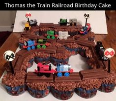 Use Kit Kats on top of chocolate frosted cupcakes for a Thomas the Train birthday cake. Easy and cute! Thomas Birthday Parties, Thomas The Train Birthday Party, Trains Birthday Party, Cool Birthday Cakes, Train Party, Cupcake Birthday, Birthday Ideas, Train Birthday Party Cake, Thomas Birthday Cakes