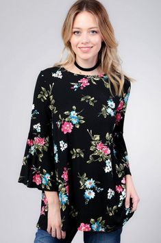 Black Floral Long Sleeve *FS* - Free Standard Shipping on All Orders Makeup Table Vanity, Mother Of The Bride, Floral Tops, Cute Outfits, Bride Dresses, Tunics, Long Sleeve, Diy Ideas, How To Wear
