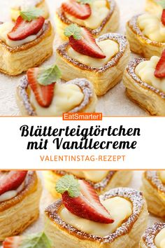 Puff pastry tart with vanilla cream-Blätterteigtörtchen mit Vanillecreme Puff pastry tart with vanilla cream – smarter – calories: 157 kcal – time: 45 min. Easy Cheesecake Recipes, Cake Mix Recipes, Easy Cookie Recipes, Baking Recipes, Desserts Végétaliens, Dessert Recipes, Food Cakes, Dessert Simple, Chocolate Cookie Recipes