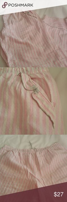 """Women's  Pink Striped Sleep Lounge Pajama Pants VICTORIA'S SECRET Women's Large Pink Striped Sleep Lounge Pajama Pants Bottoms.  Colors: pink, white and silver striped.  Size: Large.  Material: 98% Cotton, 2% other.  Measurements approximately:  inseam: 32.5""""  Length: 42""""  Rise: 10""""  Waist across: 16"""" Victoria's Secret Intimates & Sleepwear Pajamas"""