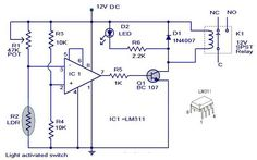 A simple light activated switch circuit with diagram and schematic using IC LM as a voltage comparator and an LDR that acts as light sensor Power Electronics, Electronics Basics, Electronics Projects, Simple Circuit, Electrical Projects, Circuit Diagram, Ldr, Light Sensor, Ambient Light