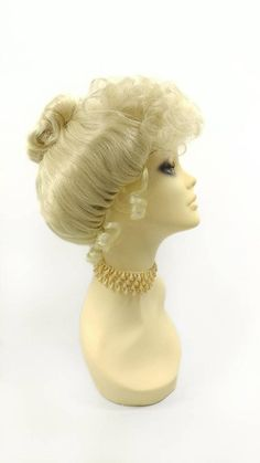 Light Blonde Bun Updo Costume Wig. Victorian Inspired Colonial Upstyle Wig Game Costumes, Costume Wigs, Blonde Bun, Ringlet Curls, Front Bangs, Bun Updo, Bun Styles, Light Blonde, Updos