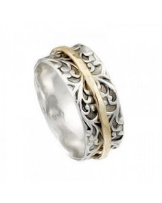 925 Silver Spinning Ring with Gold-Filled Band Ringsmycken 90c3130bbbcc9