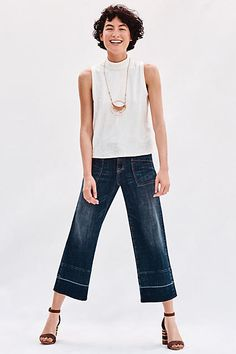 Pilcro Mid-Rise Wide-Leg Crop Jeans - anthropologie.com