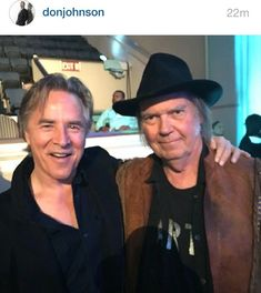 """Don Johnson❤️ on Instagram: """"Latest post from the man himself 😍 @donjohnson Photo of him with Neil Young!! Don is looking haaaandsome right here😂❤️ #LoveYouDJ 😍❤️…"""" Don Johnson, Neil Young, The Man, Cowboy Hats, Dj, Instagram, Fashion, Moda, Fashion Styles"""