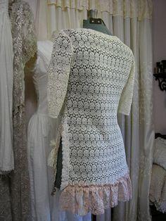 Shabby Lace Tunic Top, romantic layers lace ruffles, tattered mori feminine altered clothing MEDIUM