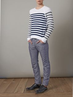 Crew-neck white cotton sweater with navy and grey stripes. James Dean knew the style worth of stripes and so do rag & bone, the creators of refined basics with a cool edge. This Finn sweater is the perfect causal item for the sharply dressed man.  Shown here with Churchs Hirst shoes and Rag & Bone Chambray trousers.