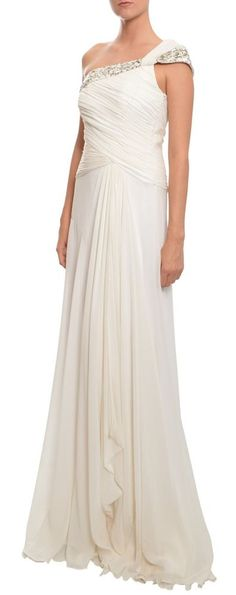 THEIA Grecian Style White Beaded Silk Gown Dress 6 NEW