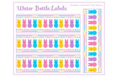 FREE Peeps Party Water Bottle Labels - site has gift tags and candy bar wraps, lunch notes and toppers and more