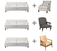 Our favorite chairs to pair with the English roll arm style sofa