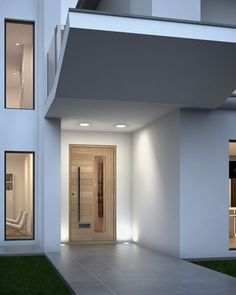 I love the lights around the front door Contemporary Front Doors, Modern Front Door, Front Door Design, Front Door Porch, House Front, Door Entryway, Entrance Doors, Aluminium Front Door, Small Buildings