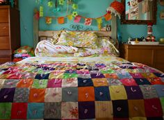 Love The Quilt and Colors - reminds me of kortnis grandma quilt.