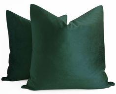 SALE %50 - 20x20 Dark Green Velvet Pillow Green Throw Pillow Cases Cushion Cover #Handmade