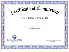 word certificate of completion template