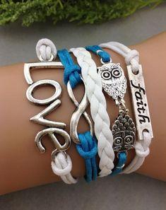 6 bracelets of the Infinity Bracelet, Faith Bracelet, Silver Owl Bracelet, Love Braclet (Bulk Order) $49.99