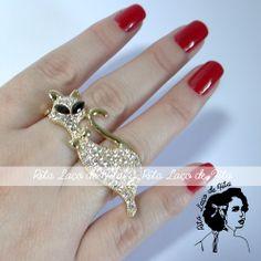 Anel Duplo de Gato - Dourado PRONTA ENTREGA Anel de dois dedos em banho dourado com strass. Tamanho 17
