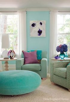 modern living room decorating with turquoise color