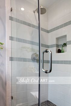 This shower is very pretty. Good neutral pattern for the Guest bath (someday). Niche built in. Uses 1x4 glass tile, and 6x8 subway tile.