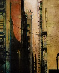 'Trespass' Art Print by Liz Brizzi on society6. Mixed media. Photographic collage and acrylic paint on canvas. Amazing.