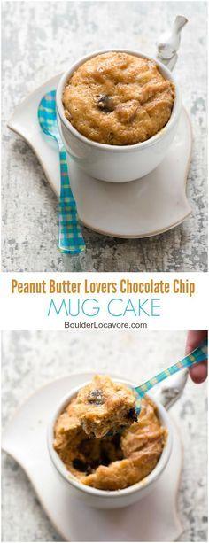 Peanut Butter Lovers Chocolate Chip Mug Cake. Rich, flourless peanut butter…