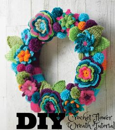 Create your own Crochet Flower Wreath! | Crochet Projects  | Crochet DIY Wreath | Yarn Wreath