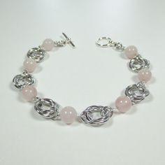 Rose Quartz Mobius Flowers Love Knots Bracelet Chainmaille Jewelry