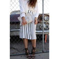 Strappy Heels and Striped Culotte Outfit by Fiona Dinkelbach