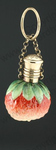 RARE ANTIQUE & VINTAGE SCENT PERFUME BOTTLES: c.1890 GLASS STRAWBERRY SCENT PERFUME BOTTLE. To visit my website click here: http://www.richardhoppe.co.uk or for help or information email us here: info@richardhoppe.co.uk