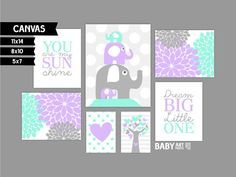 Aqua Mint Purple Grey Girl Nursery canvas art by babyartprints