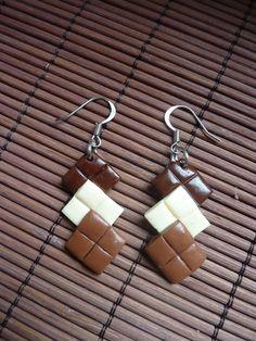 Boucles d'oreilles gourmande morceaux de chocolat