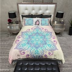 Lightweight Purple and Blue Mandala Bedding Bohemian Design Comforter... ($119) ❤ liked on Polyvore featuring home, bed & bath, bedding, duvet covers, home & living, white, twin duvet, white king duvet, california king duvet and king size pillowcases